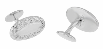 Victorian Scrolls Engravable Cufflinks in Sterling Silver - Item SCL238W - Image 1