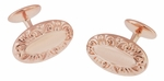 Victorian Scrolls Engravable Cufflinks in Sterling Silver with Rose Gold Vermeil