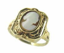 Victorian Shell Cameo and Onyx Flip<br>Antique Ring in 10 Karat Gold