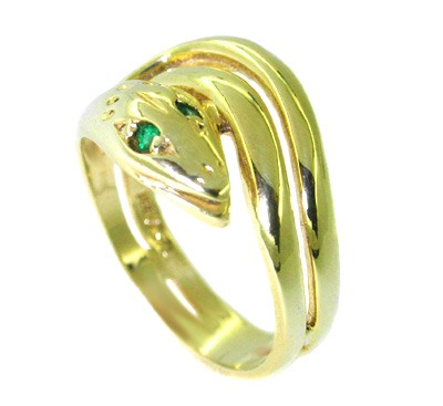 Victorian Snake Ring set with Emeralds in 14 Karat Gold