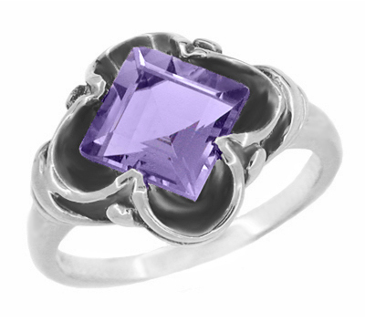 Victorian East to West Square Lilac Amethyst Ring in 14 Karat White Gold