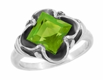 Victorian Square Emerald Cut Peridot Ring in 14 Karat White Gold