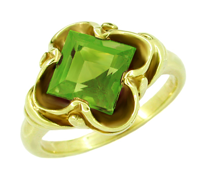 Victorian Square Emerald Cut Peridot Ring in 14 Karat Yellow Gold