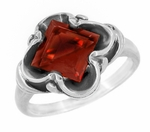 Victorian Square Emerald Cut Pyrope Garnet Ring in 14 Karat White Gold
