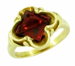 Victorian Square Emerald Cut Pyrope Garnet Ring in 14 Karat Yellow Gold