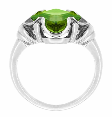 Victorian Square Peridot Ring in 14 Karat White Gold - Item R325WPER - Image 1