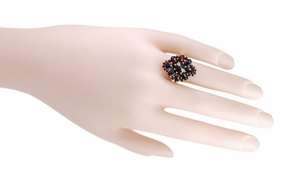 Victorian Style Bohemian Garnet Cocktail Ring in 14 Karat Gold and Sterling Silver Vermeil - Item R193 - Image 2