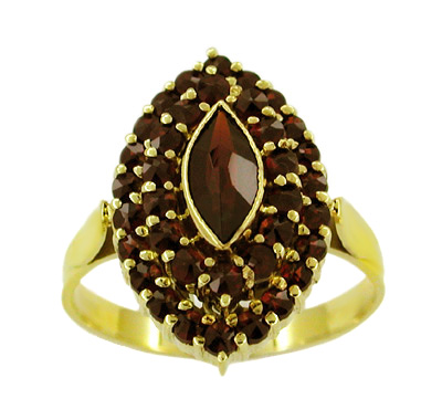 Victorian Style Marquise Shape Bohemian Garnet Cocktail Ring in 14 Karat Gold and Sterling Silver Vermeil