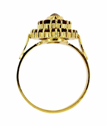 Victorian Style Marquise Shape Bohemian Garnet Cocktail Ring in 14 Karat Gold and Sterling Silver Vermeil - Item R195 - Image 1