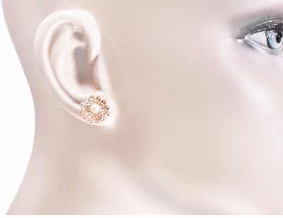 Victorian Sunflower 14 Karat Rose Gold Pearl Stud Earrings - Item E121R - Image 1