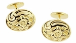 Victorian Sunflower Cufflinks in Solid Sterling Silver with Yellow Gold Vermeil
