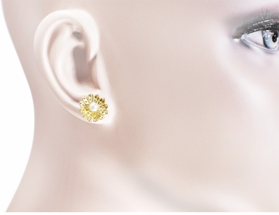 Victorian Sunflower Pearl Stud Earrings in 14 Karat Yellow Gold - Item E121 - Image 1