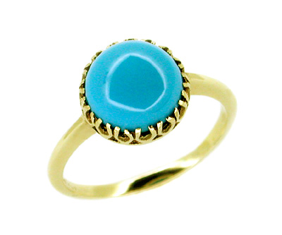 Victorian Turquoise Ring in 10 Karat Gold