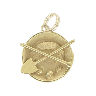 Vintage Alaska Gold Miner's Gear Charm in 10 Karat Yellow Gold
