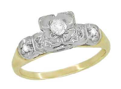 Vintage Art Deco Clover Diamond Engagement Ring in 14 Karat Yellow and White Gold