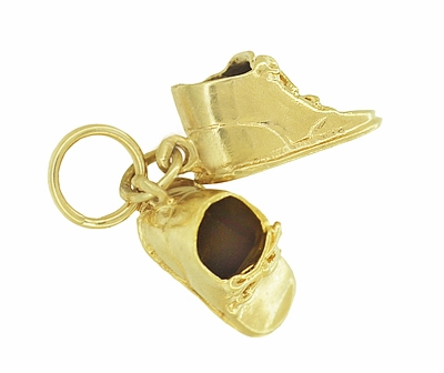 Vintage Baby Shoes Charm in 14K Yellow Gold - Item C600 - Image 1