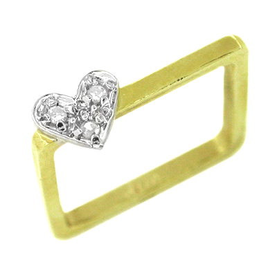 Vintage Diamond Set Heart Square Ring in 14 Karat Gold