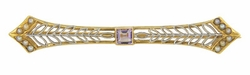 Vintage Edwardian Filigree Seed Pearl and Amethyst Bar Brooch in 14 Karat Yellow and White Gold