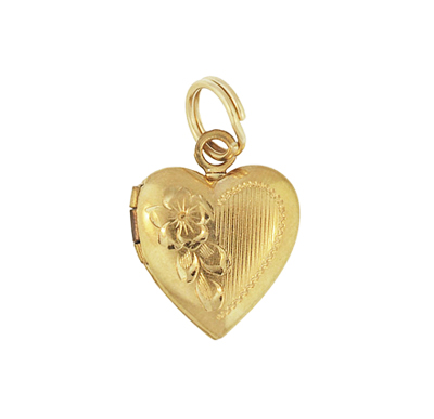 Vintage Floral Heart Engraved Locket Pendant in 14 Karat Yellow Gold