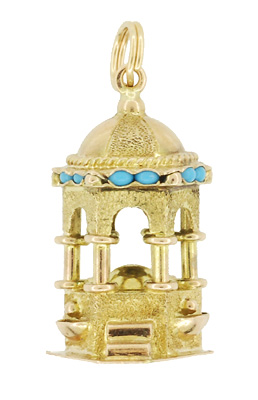 Vintage German Fountain Charm in 14 Karat Yellow Gold