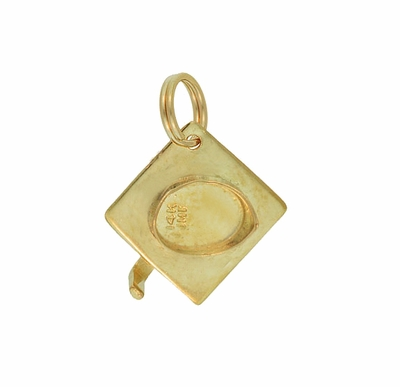 Vintage Graduation Cap Charm in 14 Karat Yellow Gold - Item C652 - Image 1