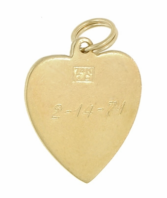 Vintage Heart Pendant set with Pearl in 14 Karat Yellow Gold - Item C566 - Image 1