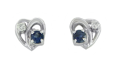 Vintage Heart Sapphire and Diamond Stud Earrings in 14 Karat White Gold