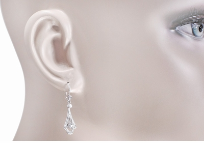 Vintage Inspired 1920s Art Deco 18 Karat White Gold and Diamond Drop Earrings - Item E122 - Image 1