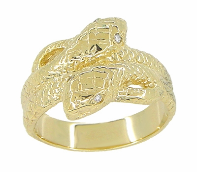 Vintage Inspired Men's Double Serpent Snake Ring with Diamond Eyes in 14 Karat Yellow Gold - Item R897 - Image 1