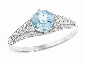 Art Deco Scrolls and Wheat Aquamarine Solitaire Filigree Engraved Engagement Ring in Platinum - Item R688PA - Image 1