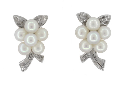Vintage Mikimoto Pearl Cluster Earrings in Sterling Silver