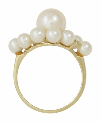 Vintage Mikimoto Pearl Cluster Ring in 14 Karat Yellow Gold - Item R1219 - Image 4