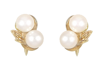 Vintage Mikimoto Pearl Earrings in 14 Karat Yellow Gold, Original Authentic 1950's Estate Cluster Pearl Earrings
