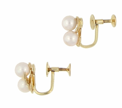 Vintage Mikimoto Pearl Earrings in 14 Karat Yellow Gold, Original Authentic 1950's Estate Cluster Pearl Earrings - Item E159 - Image 2