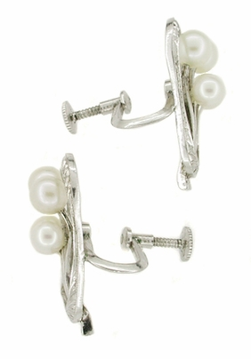 Vintage Mikimoto Pearl Earrings in Sterling Silver - Item E132 - Image 1