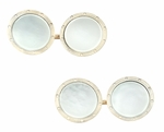 Art Deco Vintage Mother of Pearl Cufflinks in 14K Yellow Gold | Estate 1930s Engraved Nautical Porthole Cuff Links