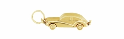 Vintage Movable 1940s Car Charm in 14K Yellow Gold | Antique Car Pendant with Spinning Wheels