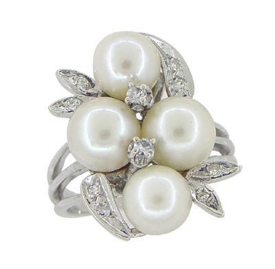 Vintage Pearl and Diamond Retro Moderne Cluster Cocktail Ring in 14 Karat White Gold