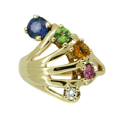 Vintage Rainbow Hand Ring Set with Blue and Pink Sapphires, Peridot, Citrine, and Diamond in 14 Karat Gold