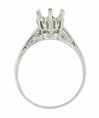 Vintage Replica 1 Carat Crown Art Deco Filigree Platinum Engagement Ring Mount - Item R199P - Image 1
