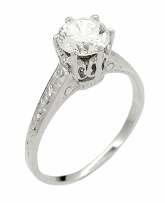Vintage Replica 1 Carat Crown Art Deco Filigree Platinum Engagement Ring Mount - Item R199P - Image 2