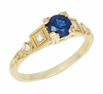 Vintage Inspired Art Deco 18K Yellow Gold Blue Sapphire Engagement Ring with Diamonds