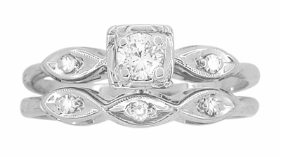 Vintage Retro Moderne Diamond Engagement Ring and Wedding Ring Set in 14 Karat White Gold - Item R767 - Image 1