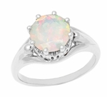 Royal Crown Opal Engagement Ring in 14K White Gold