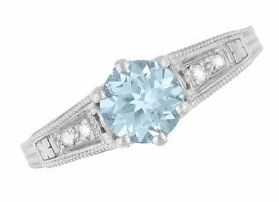 Vintage Style Aquamarine and Diamonds Filigree Art Deco Engagement Ring in Platinum - Item R158PA - Image 5