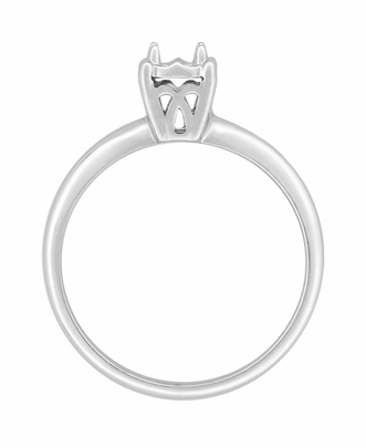 Vintage Style Illusion Solitaire Ring Setting in 14 Karat White Gold for a 0.25 Carat Diamond | Simple 1950s Ring Mount - Item R848W - Image 1