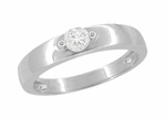 Vintage Style Mid Century Diamond Engagement Ring in 14 Karat White Gold