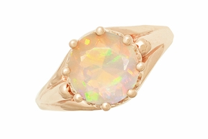 Vintage Style Regal Crown Opal Engagement Ring in 14 Karat Rose Gold - Click to enlarge