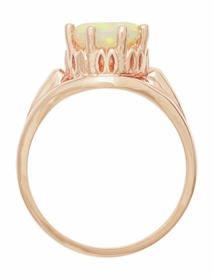 Vintage Style Regal Crown Opal Engagement Ring in 14 Karat Rose Gold - Item R419Ro - Image 1