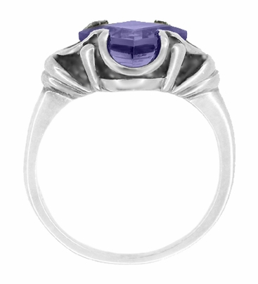 Vintage Style Victorian Square Iolite Ring in 14 Karat White Gold - Item R327W - Image 1
